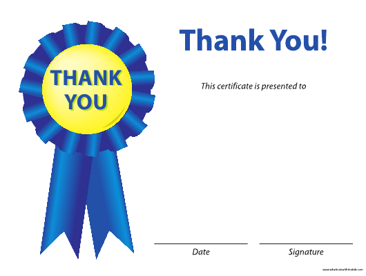 """""""Blue Thank You Certificate Template"""" Download Pdf"""