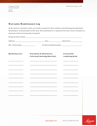 """Warranty Maintenance Log Template - Loewen"" - Canada"