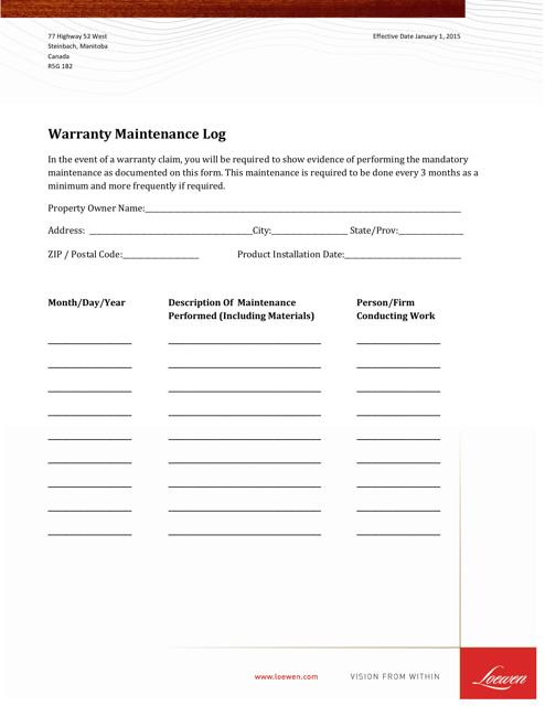 """""""Warranty Maintenance Log Template - Loewen"""" - Canada Download Pdf"""