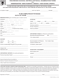 """Physical Examination Form - Rockwood School District"""