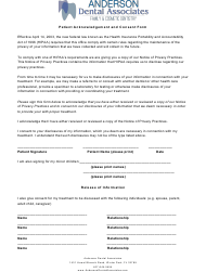 """Patient Acknowledgement and Consent Form - Anderson Dental Associates"""