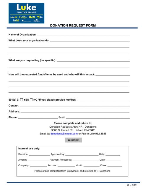 """Donation Request Form - Luke"" Download Pdf"