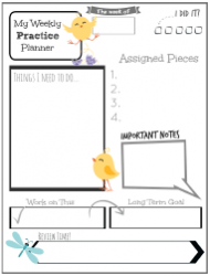 Weekly Practice Planner Template for Kids