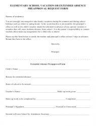 Elementary School Vacation or Extended Absence Preapproval Request Form