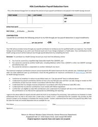 """Hsa Contribution Payroll Deduction Form - Missouri Western State University"""