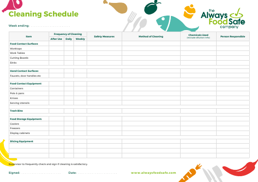 """""""Weekly Cleaning Schedule Template - the Always Food Safe Company"""" Download Pdf"""