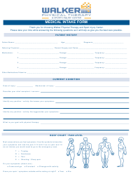 """Medical Intake Form - Walker Physical Therapy&sports Injury Center"""