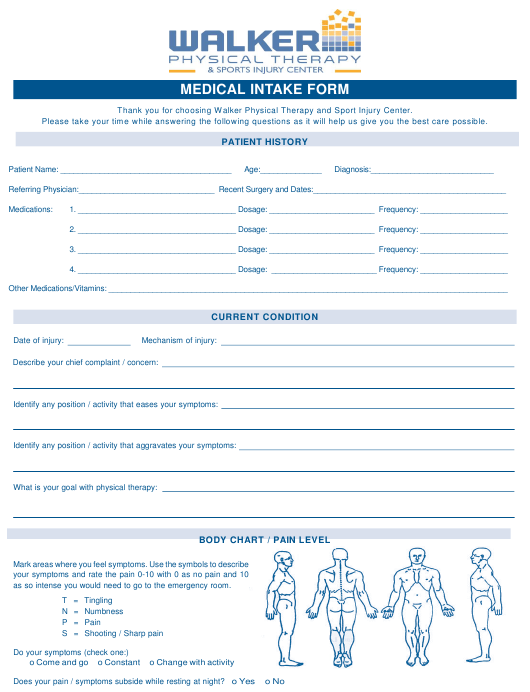 """""""Medical Intake Form - Walker Physical Therapy&sports Injury Center"""" Download Pdf"""