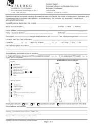 Employer's Incident Report Form on Medical-Only Injury - Kellogg Community College - Michigan