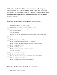 Wedding Shot List Template