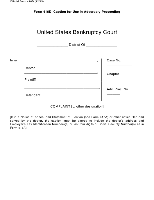 Official Form 416D  Printable Pdf