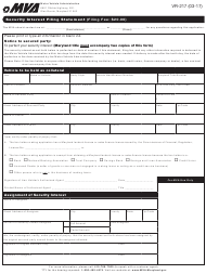 "Form VR-217 ""Security Interest Filing Statement"" - Maryland"