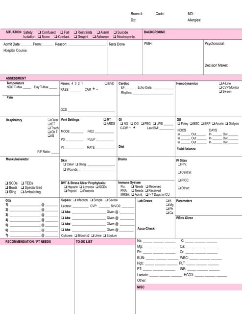 """Pink Icu Brain Sheet Template"" Download Pdf"