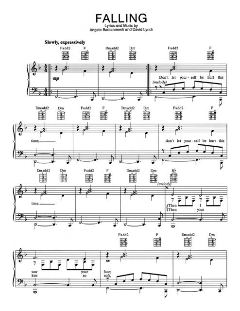 Angelo Badalamenti and David Lynch - Falling Piano Sheet Music
