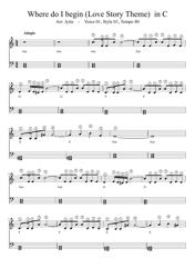 Where Do I Begin (Love Story Theme) in C Sheet Music
