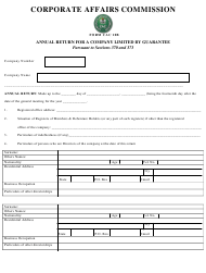 """Form CAC10b """"Annual Return for a Company Limited by Guarantee"""" - Nigeria"""