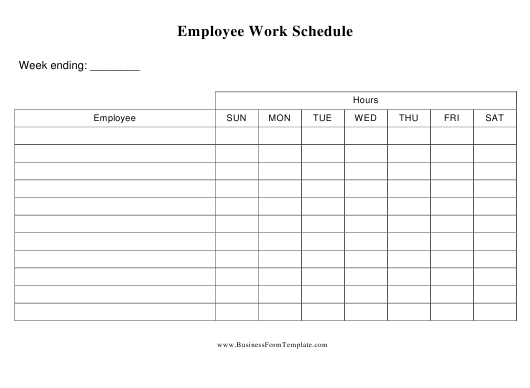 Employee Daily Work Schedule Template Pdf