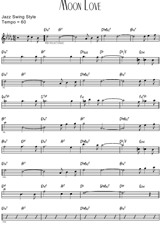 """Moon Love (Jazz Swing Style) Sheet Music"" Download Pdf"