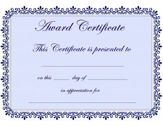 Blue Award Certificate Template