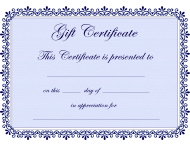 Blue Gift Certificate Template