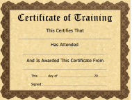 """""""Certificate of Training Template"""""""