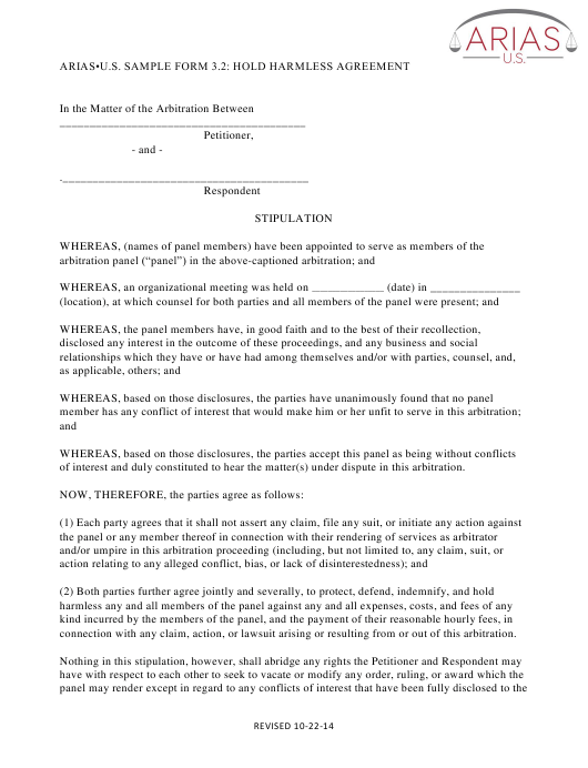 """""""Hold Harmless Agreement Template - Arias U.s."""" Download Pdf"""