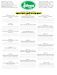 Shopping List Template - Rochester Hills Store