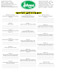 """Shopping List Template - Rochester Hills Store"""