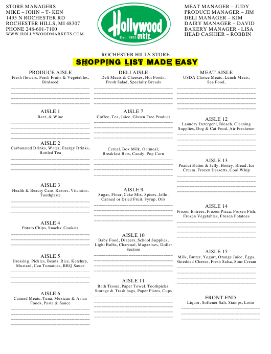 """Shopping List Template - Rochester Hills Store"" Download Pdf"