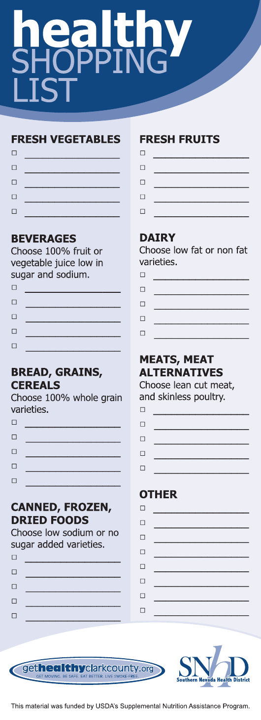 """""""Healthy Shopping List Template - Southern Nevada Health District"""" Download Pdf"""
