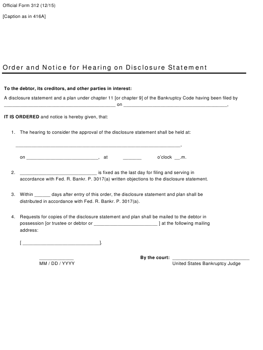 Official Form 312  Printable Pdf