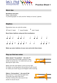 """Trombone Practice Worksheet - Thornburyareayouthmusic"""