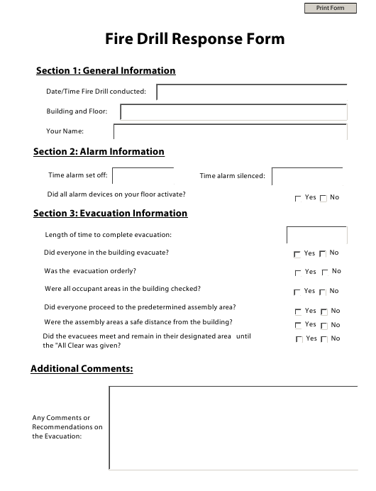 """""""Fire Drill Response Form"""" Download Pdf"""