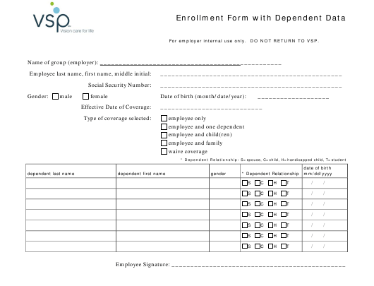 """Enrollment Form With Dependent Data - Vsp"" Download Pdf"