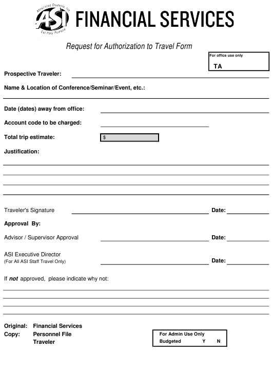 """""""Request for Authorization to Travel Form - Asi Financial Services"""" Download Pdf"""