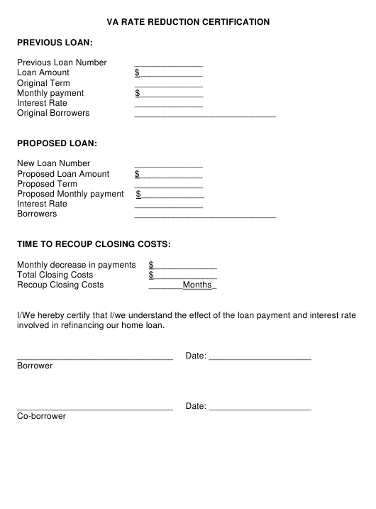Va Rate Reduction Certification Form Download Printable