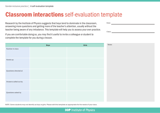 """""""Classroom Interactions Self-evaluation Template - Institute of Physics"""" Download Pdf"""
