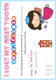 """""""First Tooth Certificate - Tooth Fairy - Tfi Dentistry"""""""