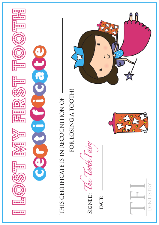 """First Tooth Certificate - Tooth Fairy - Tfi Dentistry"" Download Pdf"