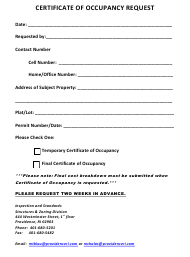"""Certificate of Occupancy Request Form"" - City of Providence, Rhode Island"