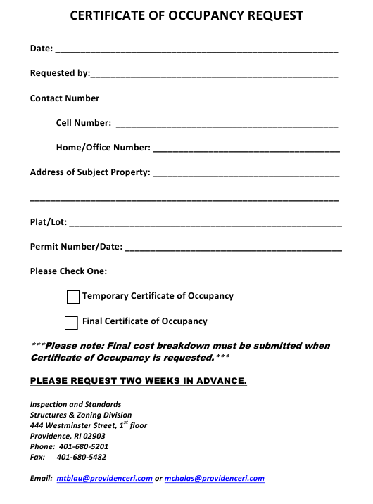"""""""Certificate of Occupancy Request Form"""" - City of Providence, Rhode Island Download Pdf"""