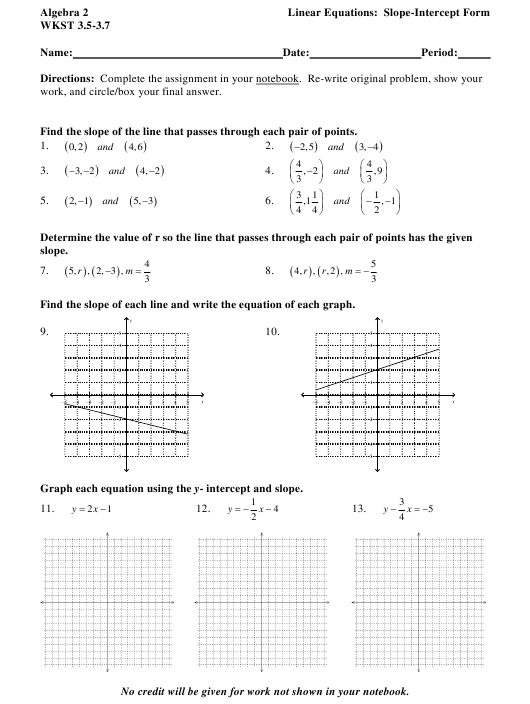 Algebra 2 Wkst 3.5-3.7 Linear Equations In Slope-Intercept Form Worksheet  With Answers Download Printable PDF Templateroller