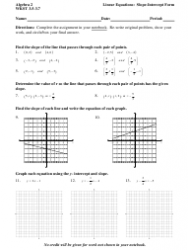 Algebra 2 Wkst 3.5-3.7 Linear Equations in Slope-Intercept Form Worksheet With Answers
