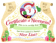 """Christmas Certificate of Niceness Template"""