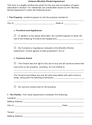 """Monthly Rental Agreement Form"" - Arkansas"