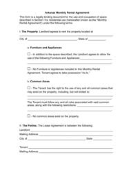Monthly Rental Agreement Form - Arkansas
