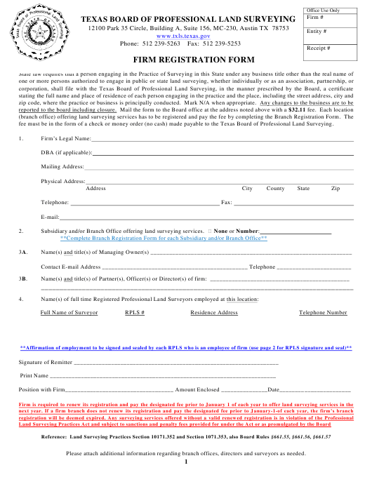 """Firm Registration Form"" - Texas Download Pdf"