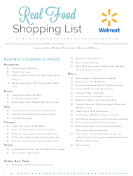 Real Food Shopping List Template - Walmart