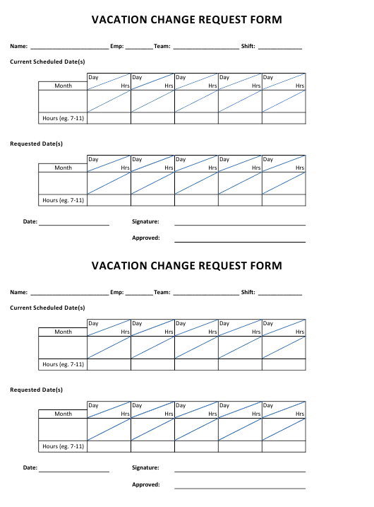 """""""Vacation Change Request Form"""" Download Pdf"""