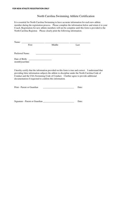 """North Carolina Swimming Athlete Certification Template"" - North Carolina Download Pdf"